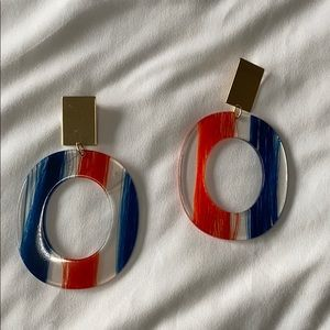 Lucite colorful gold statement earrings